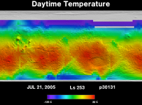 Orbit 30131daytime surface temperature map