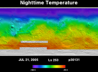 Orbit 30131nighttime surface temperature map
