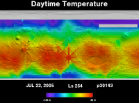 Orbit 30143daytime surface temperature map