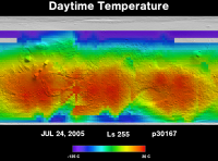 Orbit 30167daytime surface temperature map
