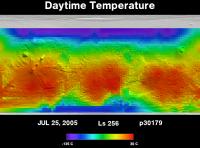 Orbit 30179daytime surface temperature map