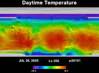 Orbit 30191daytime surface temperature map