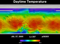 Orbit 30203daytime surface temperature map