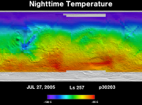 Orbit 30203nighttime surface temperature map