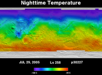 Orbit 30227nighttime surface temperature map