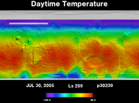 Orbit 30239daytime surface temperature map
