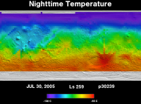 Orbit 30239nighttime surface temperature map