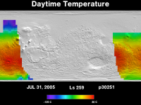 Orbit 30251daytime surface temperature map
