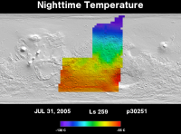 Orbit 30251nighttime surface temperature map