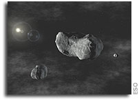 Rubble-pile minor planet Sylvia and her twins - VLT NACO instrument discovers first triple asteroid