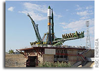 Progress M-54 Spacecraft Moved to Launch Pad at Baikonur Cosmodrome