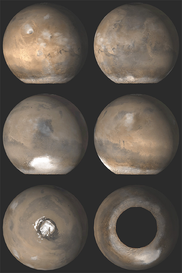 Six views of Mars as it appears at 'L sub s' 121 degrees.