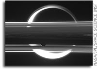 Saturn's Rings - Janus In Front, Titan Behind