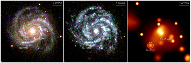 UVOT and XRT images of supernova 2006X (SN2006X) in M100.