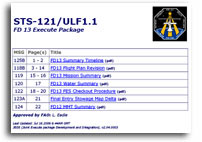NASA STS-121/ULF1.1 FD 13 Execute Package