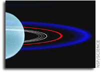 A blue ring around the planet Uranus - Color is attributed to forces acting on dust
