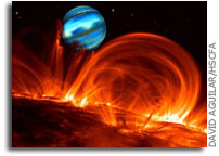 A giant planet embedded in the magnetosphere of its star