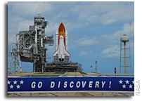 Shuttle Discovery at Launch Pad; Launch Dress Rehearsal Next
