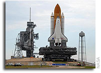 Space Shuttle Atlantis Arrives at the Launch Pad