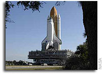 Shuttle Atlantis Moves to Pad, Crew Ready for Countdown Test