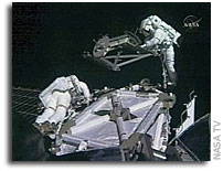 Spacewalkers Install S5 Truss, Work Ahead of Schedule
