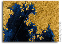 Cassini Provides New Views of Titan's Land of Lakes and Seas