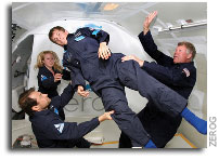 Florida Science Student Stand-In for Professor Stephen Hawking During Test-Run Weightless Flight on April 25, 2007