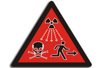Red triangle with skull and crossbones is for danger - new UN radiation symbol