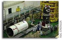 Progress M-62 transport cargo vehicle docked with transfer compartment