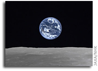 KAGUYA (SELENE) HDTV Image of Full Earth-Rise Over The Moon