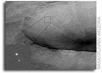 NASA Mars Phoenix Lander Descending To Mars with Crater in the Background
