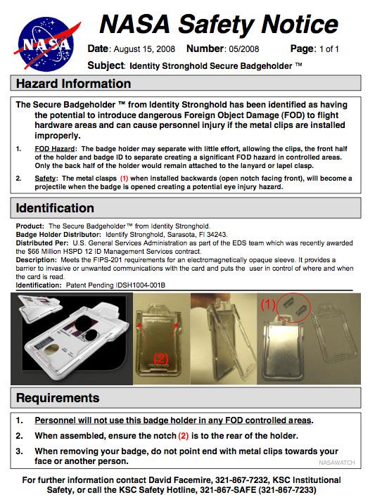 NASA Internal Memo: Badge Holder Safety
