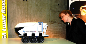 Shana Dale looks at rover model
