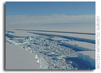 Antarctic ice shelf 'hangs by a thread'