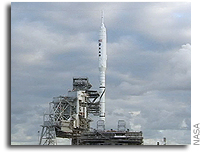 NASA's Ares I-X Rocket Arrives at Launch Pad in Florida