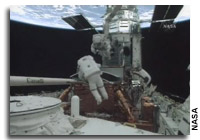 Astronauts Complete First Hubble Servicing Mission Spacewalk