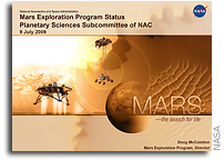 NASA Briefing Charts: Mars Exploration Program Status Planetary Sciences Subcommittee of NAC