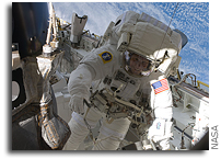 Space Station Astronauts Transferring Integrated Cargo Carrier