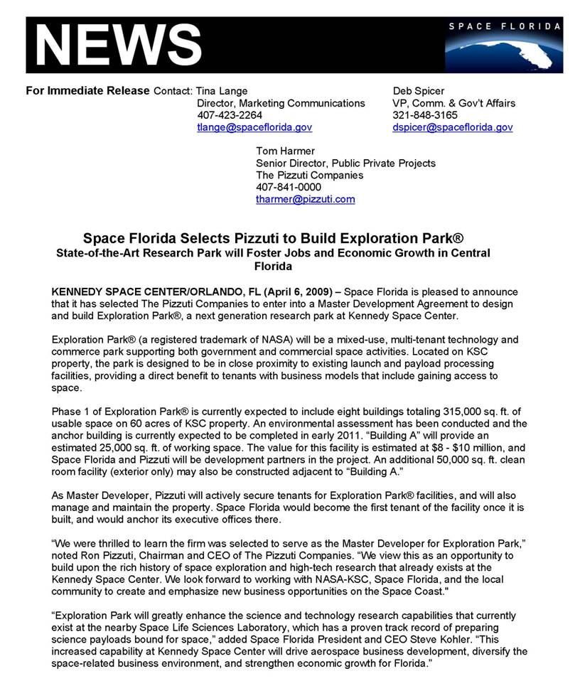 Nasa watch april 2009 archives for Nasa press release