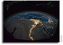 Nile Delta at Night As Seen From Orbit