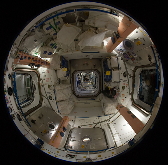 Photos  Fish-eye Lens Views Inside of Space Station s Unity NodeNasa Space Station Inside