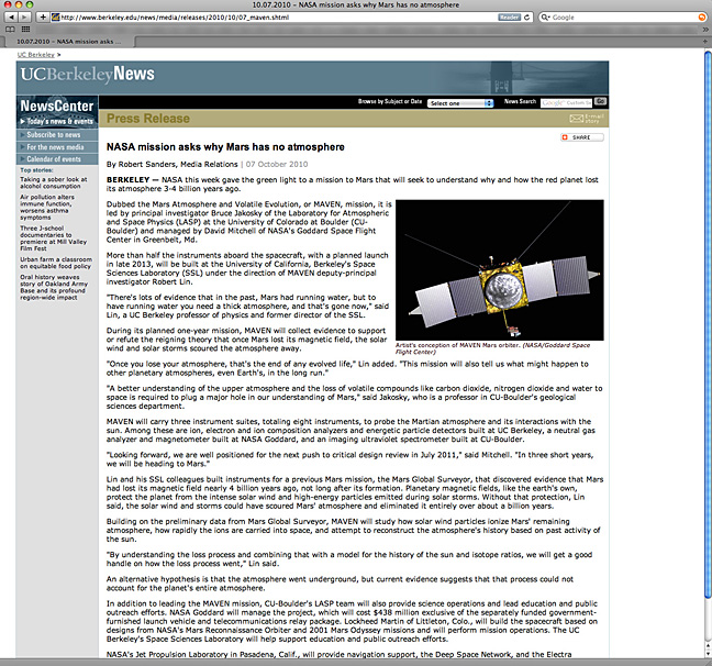Today 39 s dumb press release title is from uc berkeley for Nasa press release