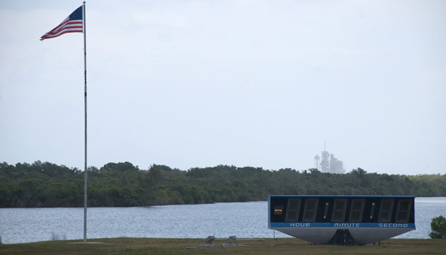 NASA Shuttle Endeavour on the pad hours before the countdown clock is set to start. STS-134