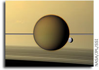 Photo: Titan and Dione As Seen by Cassini