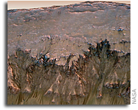 Image: Close-up Detail of the Walls of Newton Crater on Mars