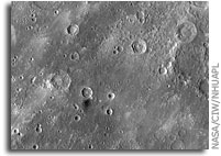 MESSENGER Image: Dark Material on Mercury