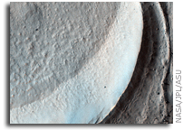 NASA MRO HiRISE Image of Mars: Gullies and Lobate Material in a Crater in the Nereidum Montes