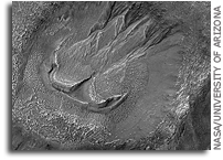 MRO HiRISE Image of Mars: Gullies and Lobate Material in a Crater in Nereidum Montes