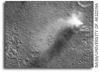 MRO HiRISE Image of Mars: Fan and Dust Devil in Deuteronilus Mensa