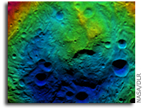 Image: Topography of Vesta's South Polar Region